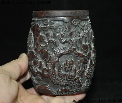 """4""""Collect Rare China Chinese Old Ox Horn Carved Pine Tree man boy Drum Box Boxes 5"""