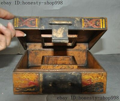 Old China Bronze Lacquerware Carved Auspicious Sika deer Jewelry Case Box Boxes 3