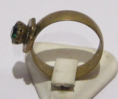 VINTAGE NICE BRONZE RING WITH GREEN STONE FROM THE EARLY 20th CENTURY # 1B 3