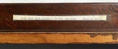 (2) Antique 19th Century 1891 Wood Bible Book Racks St. Pauls Church Woodbury CT 6