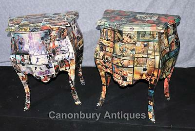Pair Art Deco Comic Print Chests Drawers Bedside Table Nightstands 5