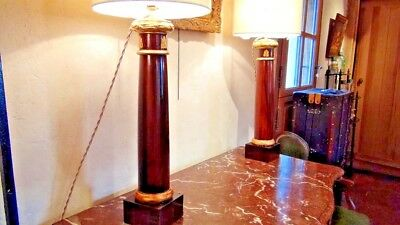 Pair of Empire period in rosewood veneer columns, gilded bronze and wood 3