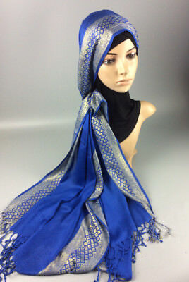 Muslim Women Hijab Tassel Long Scarf HeadWrap Islamic Big Shawls Hat Scarves Cap 6