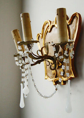 Pair Rare Italian Beaded Florentine Carved Wood & Tole Sconces Opaline Prisms 3 • CAD $1,953.00