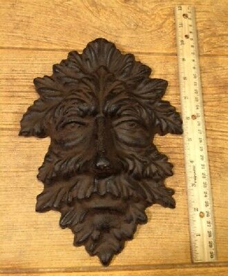 "Green Man Leafy Tree Man Solid Cast Iron 10"" Wall Plaque Sculpture 0170-05631 8"