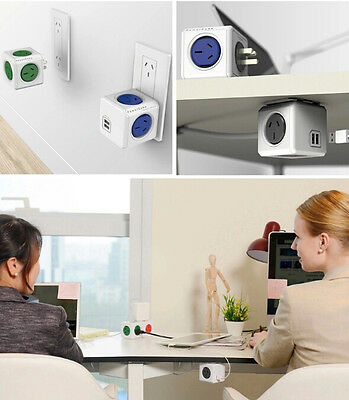 Allocacoc Power Cube Desktop Charge 4/5 Outlets 2 USB Ports with 1.5/3M Cable 9