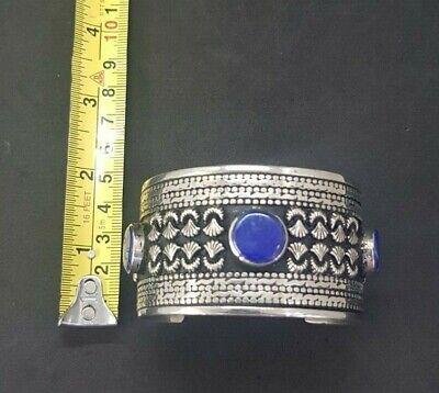 Wonderful Silver plated Afgani Adjustable Beautiful Bangle With Lapis Stone #W12 7