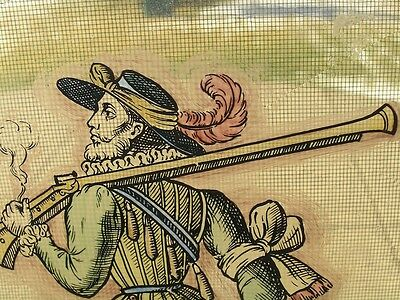 Antique Stained Glass German Military Lansquenet Foot Soldier Hand Painted 6