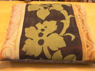 """Pair of Antique Aubusson Tapestry Huge Pillows 22x22x5"""" / 55x55x13cm Velvet Back 4"""