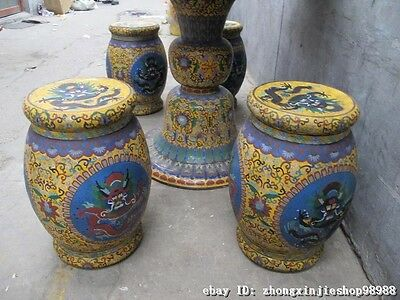 Huge China Royal Copper Cloisonne Enamel Dragon Round Table stool Chairs Set 9
