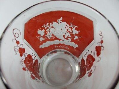 Becher/ Henkel- Krug Glas gebeizt, handgeschliffen, Füllhorn GLÜCK um 1900  AL19 12
