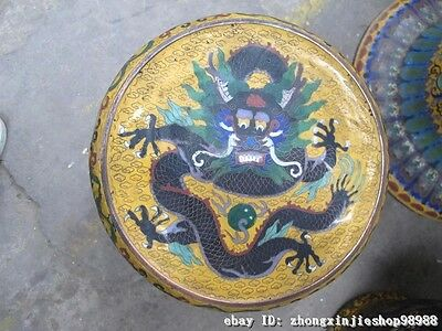 Huge China Royal Copper Cloisonne Enamel Dragon Round Table stool Chairs Set 7