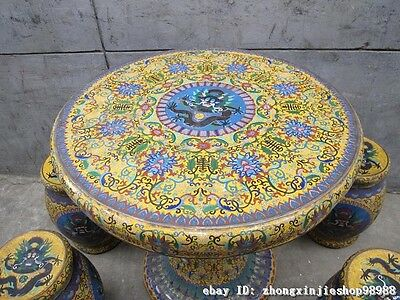 Huge China Royal Copper Cloisonne Enamel Dragon Round Table stool Chairs Set 3