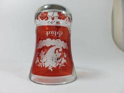 Becher/ Henkel- Krug Glas gebeizt, handgeschliffen, Füllhorn GLÜCK um 1900  AL19 8