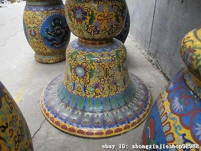 Huge China Royal Copper Cloisonne Enamel Dragon Round Table stool Chairs Set 11