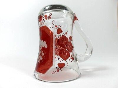 Becher/ Henkel- Krug Glas gebeizt, handgeschliffen, Füllhorn GLÜCK um 1900  AL19 6