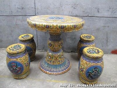 Huge China Royal Copper Cloisonne Enamel Dragon Round Table stool Chairs Set 5