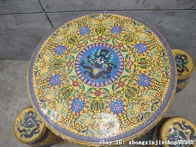 Huge China Royal Copper Cloisonne Enamel Dragon Round Table stool Chairs Set 4