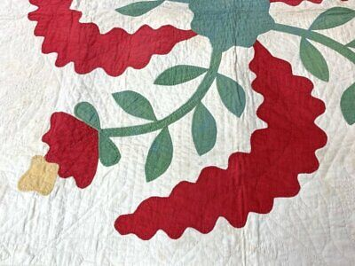 RARE c 1850s ALBUM Applique Crib Quilt Antique RED Green 3