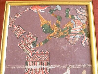 18 C. Thai Hindu Guache Manuscript Painting Mythological Angels Demons Ramakien 4
