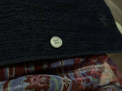 $120 New XL Skin sheer  long 100% cotton shirt top blouse 3 UK XL navy blue 8