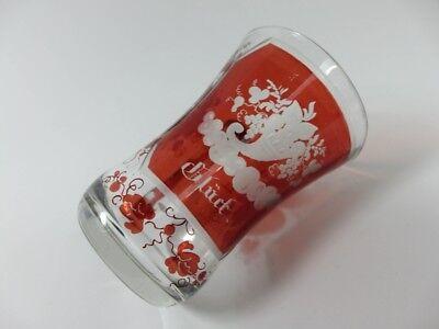 Becher/ Henkel- Krug Glas gebeizt, handgeschliffen, Füllhorn GLÜCK um 1900  AL19 10