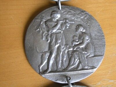 Four Great Cast Metal Round Chained Hanging Plaques Renaissance Scenes