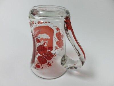 Becher/ Henkel- Krug Glas gebeizt, handgeschliffen, Füllhorn GLÜCK um 1900  AL19 9