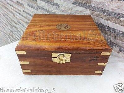 Nautical Brass Gift Set Vintage Maritime Compass/Telescope/Sextant W/Wooden Box 4