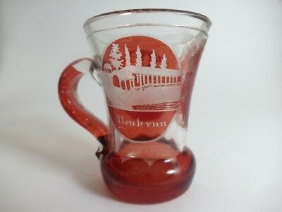 Andenken Becher/ Henkel- Krug Glas gebeizt, KARLSBAD, um 1900  AL43 2