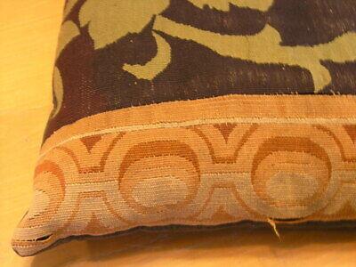 """Pair of Antique Aubusson Tapestry Huge Pillows 22x22x5"""" / 55x55x13cm Velvet Back 8"""