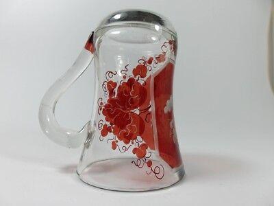 Becher/ Henkel- Krug Glas gebeizt, handgeschliffen, Füllhorn GLÜCK um 1900  AL19 7