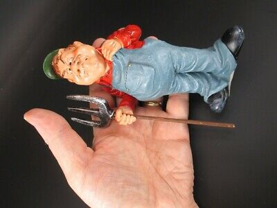 Bauer Avec Fourche Fumier Fermier 15 CM Occupation Drôles Figurine Collection
