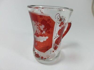 Becher/ Henkel- Krug Glas gebeizt, handgeschliffen, Füllhorn GLÜCK um 1900  AL19 4