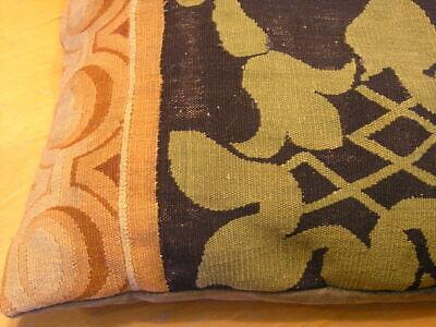 """Pair of Antique Aubusson Tapestry Huge Pillows 22x22x5"""" / 55x55x13cm Velvet Back 7"""