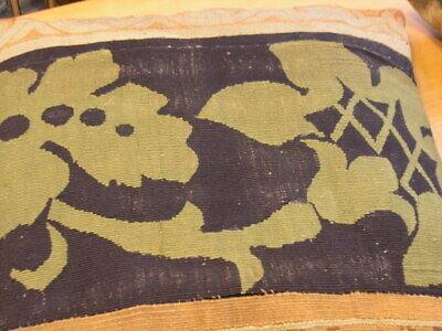 """Pair of Antique Aubusson Tapestry Huge Pillows 22x22x5"""" / 55x55x13cm Velvet Back 9"""