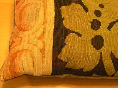 """Pair of Antique Aubusson Tapestry Huge Pillows 22x22x5"""" / 55x55x13cm Velvet Back 5"""