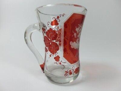 Becher/ Henkel- Krug Glas gebeizt, handgeschliffen, Füllhorn GLÜCK um 1900  AL19 5