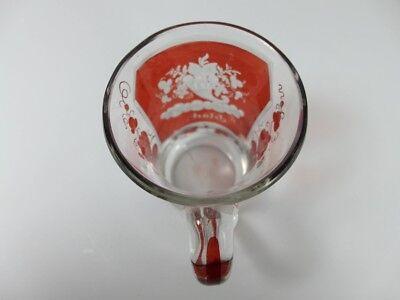 Becher/ Henkel- Krug Glas gebeizt, handgeschliffen, Füllhorn GLÜCK um 1900  AL19 11