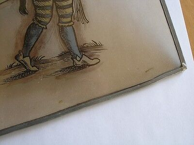 Antique Stained Glass German Military Lansquenet Foot Soldier Hand Painted 11