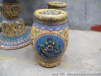 Huge China Royal Copper Cloisonne Enamel Dragon Round Table stool Chairs Set 6