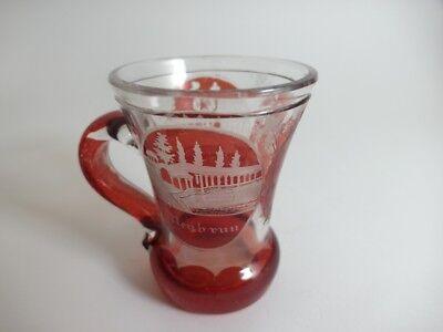 Andenken Becher/ Henkel- Krug Glas gebeizt, KARLSBAD, um 1900  AL43 5