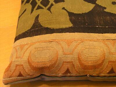 """Pair of Antique Aubusson Tapestry Huge Pillows 22x22x5"""" / 55x55x13cm Velvet Back 6"""