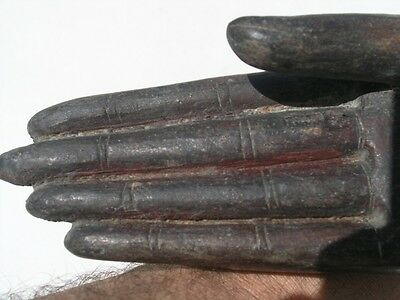 Exceptional Ancient Asian Bronze Buddha Hand Mounted 12