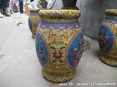 Huge China Royal Copper Cloisonne Enamel Dragon Round Table stool Chairs Set 8