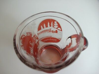 Andenken Becher/ Henkel- Krug Glas gebeizt, KARLSBAD, um 1900  AL43 7