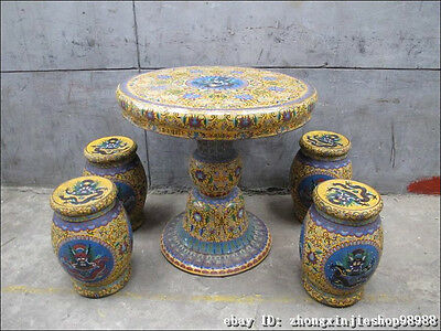 Huge China Royal Copper Cloisonne Enamel Dragon Round Table stool Chairs Set 2