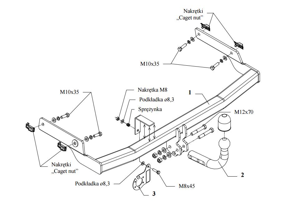 Anhängerkupplung abnehmbar Auto Hak E-Satz 7pol AHK /& ES 206+ Fliessheck T3E