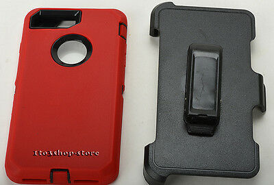 iPhone 7 Plus & iPhone 8 Plus Defender Hard Case w/Holster Belt Clip Red/Black 5