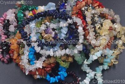 Handmade 5-8mm Mixed Natural Gemstone Chip Beads Stretchy Bracelet Healing Reiki 8